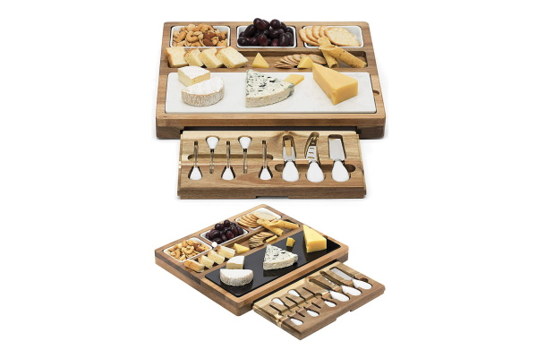 A cheese board made out of wood and marble is a very clever gift idea for the woman who wants nothing