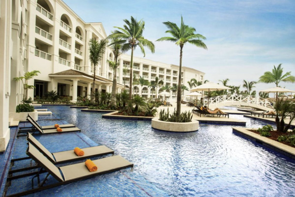 Image of sun chairs in the pool at Hyatt Zilara Rose Hall an adults only all inclusive resort
