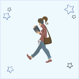 Image of an icon of a girl walking while reading a book illustrating the idea that walking during the day is a great activity to make your nighttime rest and routine a little bit easier