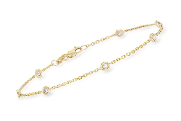 Image of a gold bracelet with diamonds as a great last minute Valentines gift for her
