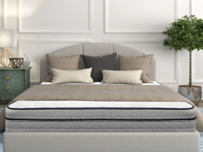 Image of Sweet Zzz's newest Hanna Hybrid Mattress Surrounded by Decorative Trees