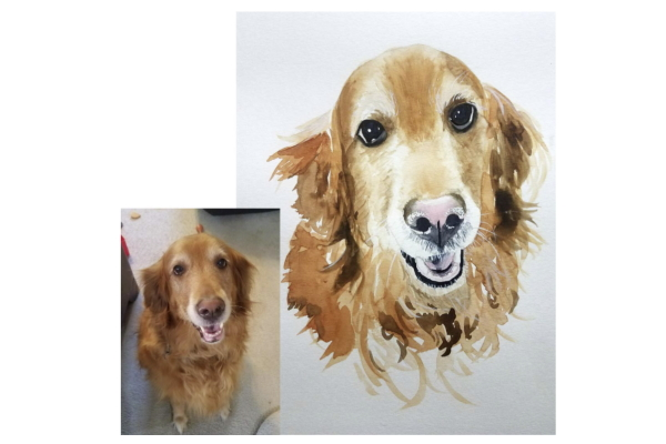 Image of a custom painted watercolor portrait of a golden retriever as a clever gift idea for women